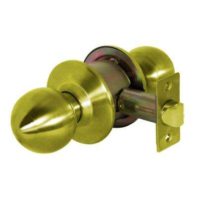 Light Duty Grade 3 Cylindrical Passage Hall/Closet Function Door Knobset in Bright Brass
