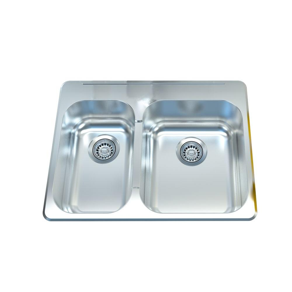 Filament design cantrio deck mounted stainless steel 27 in for Designer kitchen sinks stainless steel