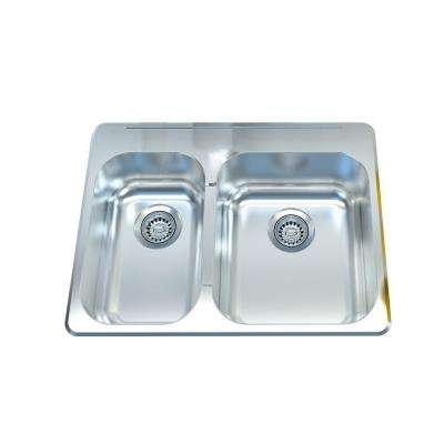 Cantrio Deck Mounted Stainless Steel 27 in. 1-Hole Double Bowl Kitchen Sink