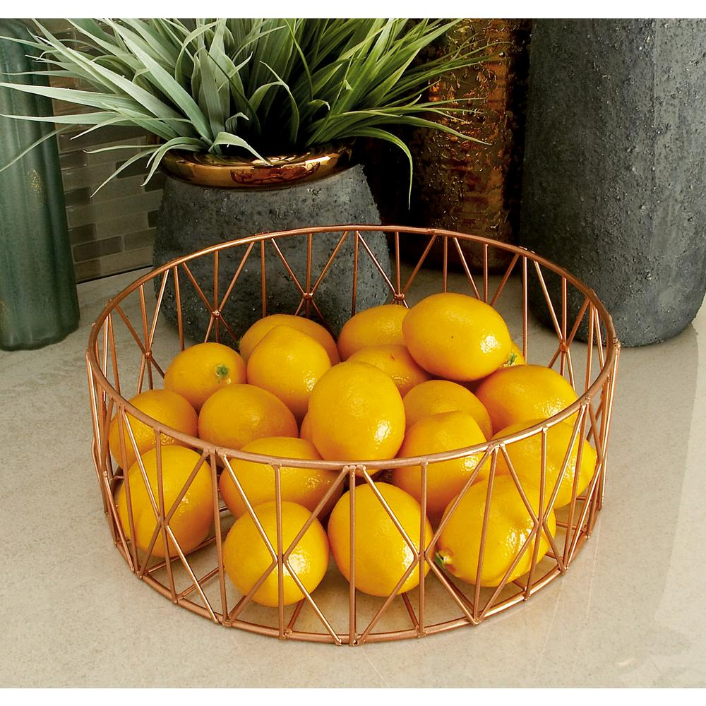 Modern Round Copper Gold Iron Wire Baskets (Set of 3)