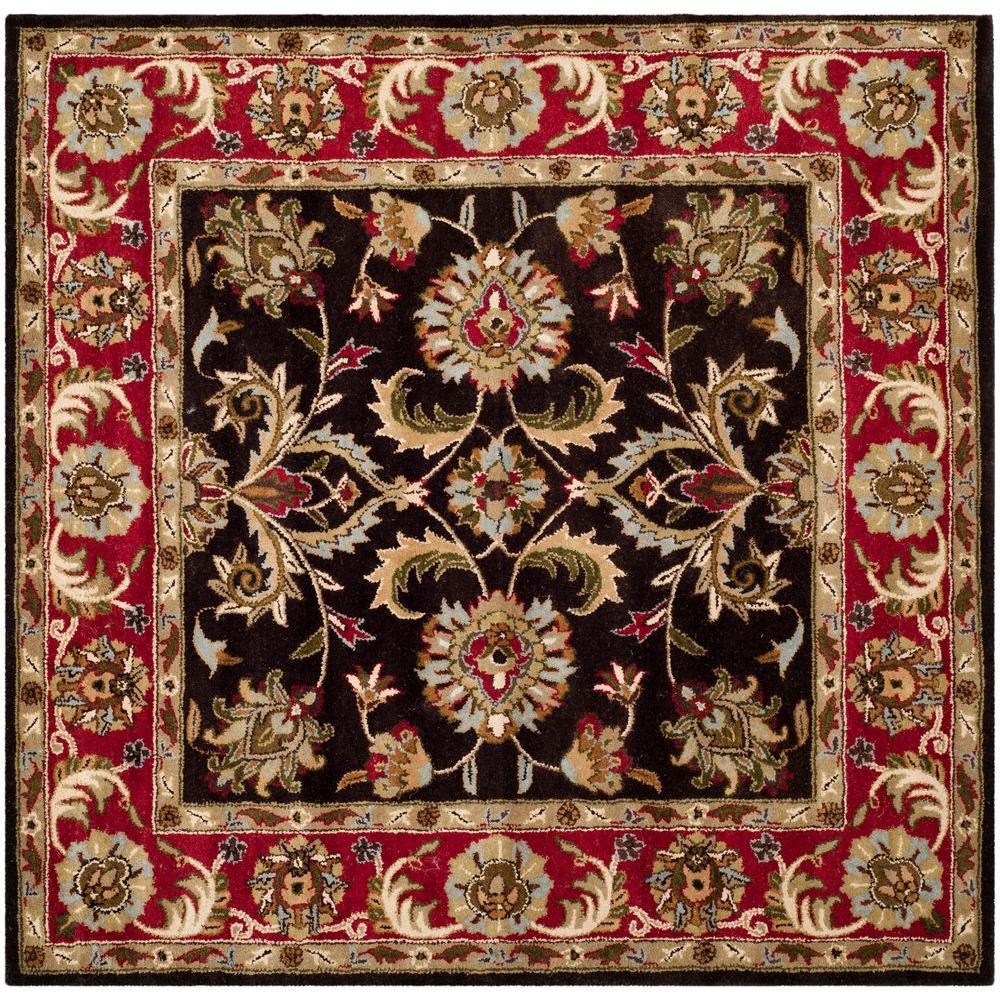 Safavieh Heritage Chocolate/Red 6 Ft. X 6 Ft. Square Area