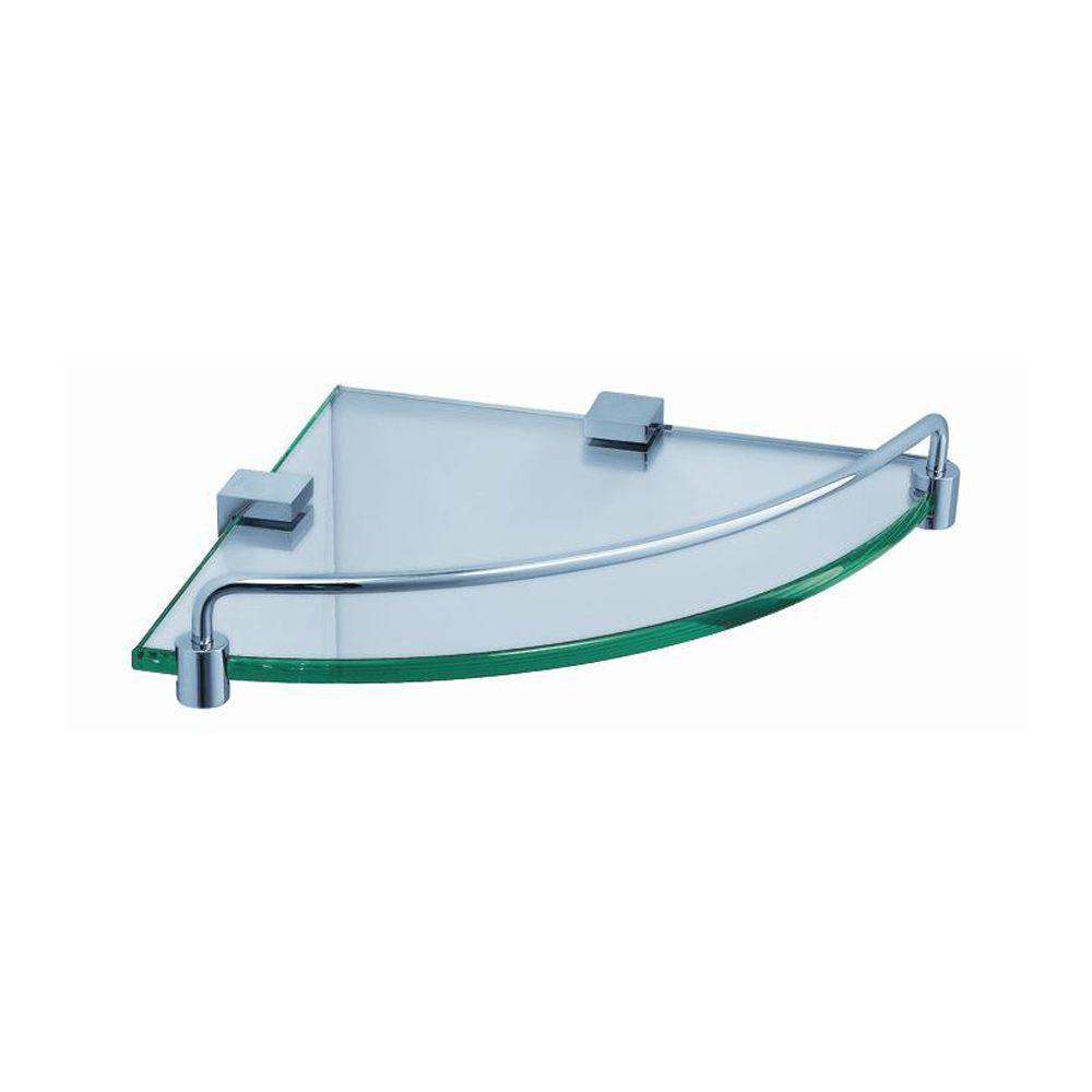 Ottimo 8.5 in. W Corner Glass Shelf in Chrome
