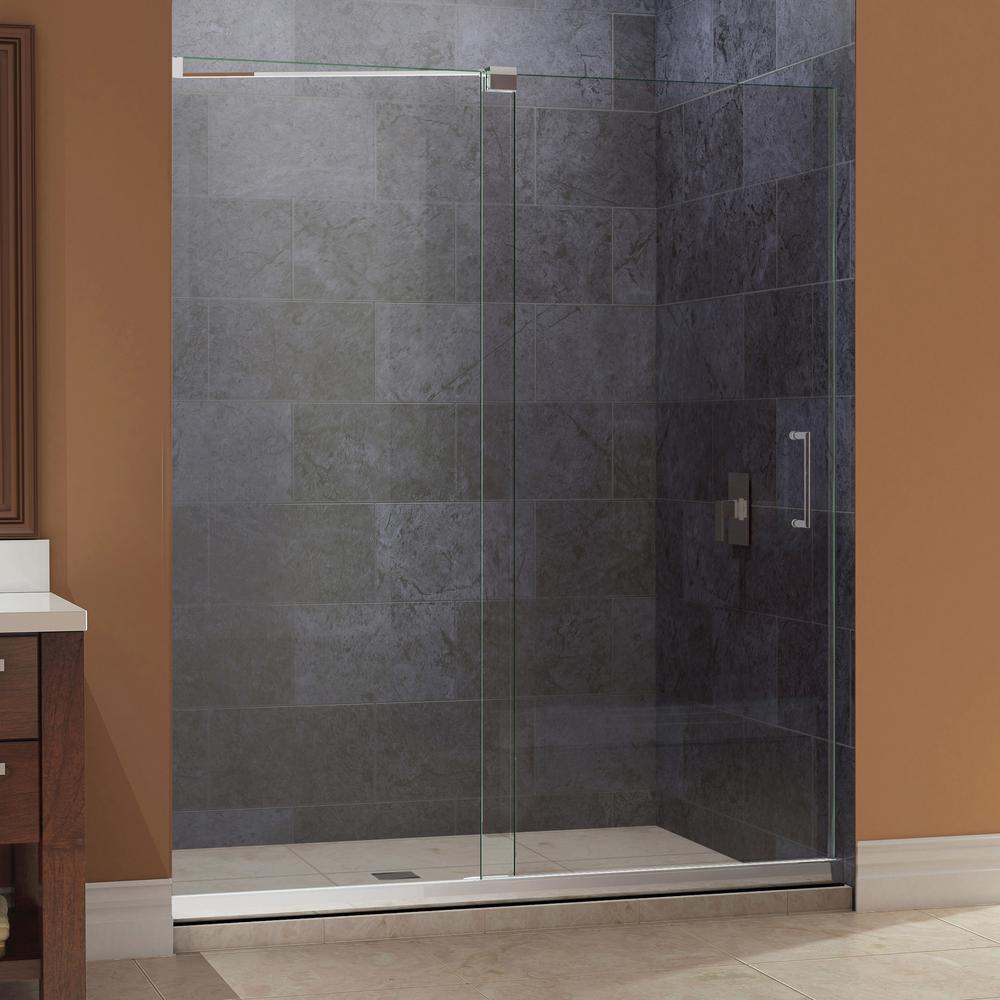 DreamLine Mirage 36 in. x 48 in. x 74.75 in. Semi-Framed Sliding Shower Door in Brushed Nickel and Center Drain White Acrylic Base