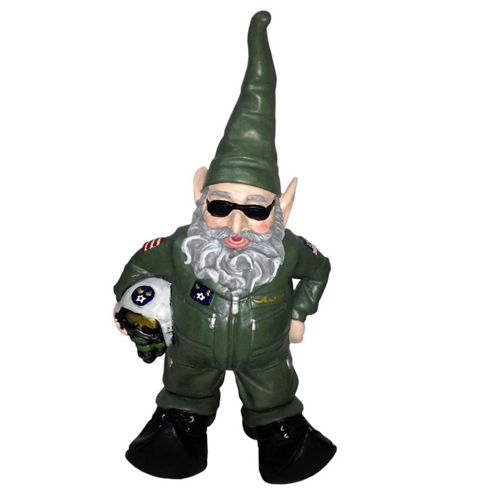 H Top Gun Air Force Gnome Pilot Military Soldier In Green Flight