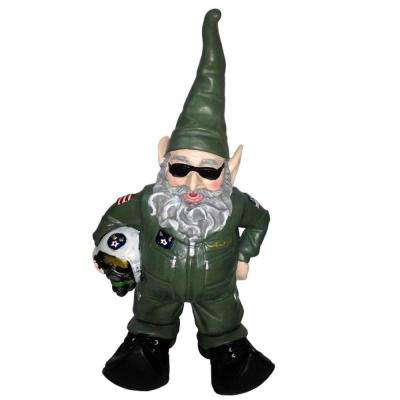 15 in. H Top Gun Air Force Gnome Pilot Military Soldier in Green Flight Suit Home and Garden Gnome Statue