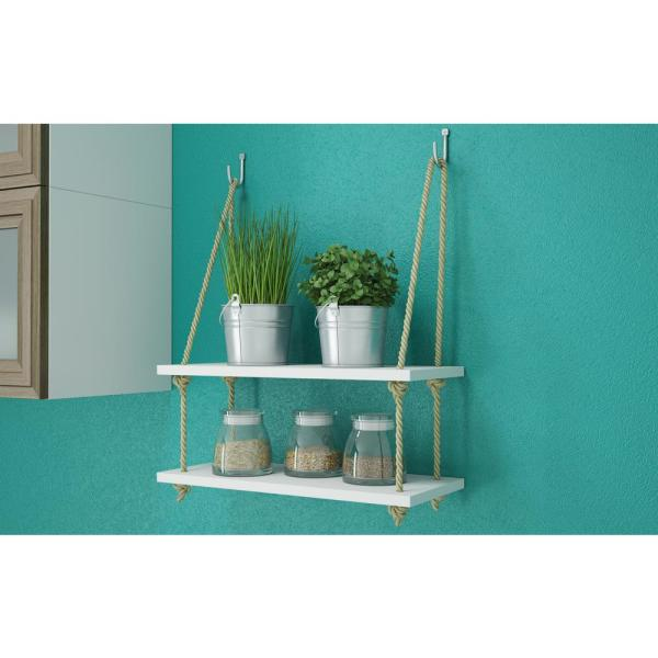 Manhattan Comfort - Uptown 2 - 17.52 in. White Rope Swing with 2-Shelves