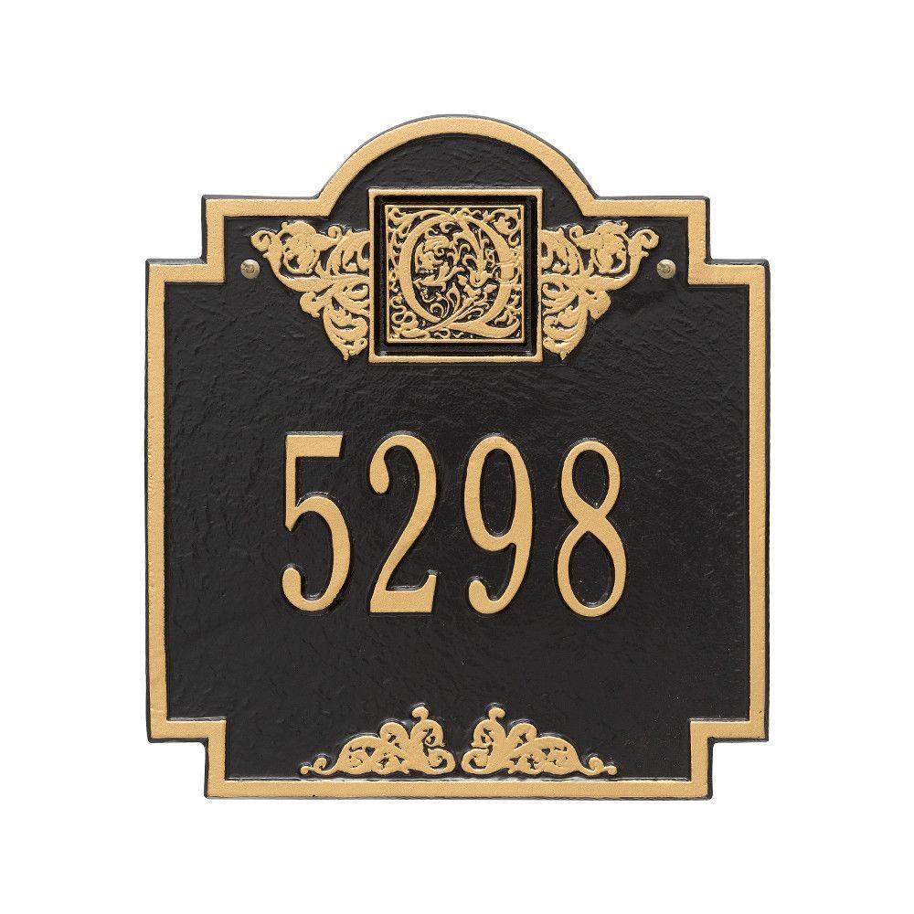 Monogram Standard Square Black/Gold Wall 1-Line Address Plaque