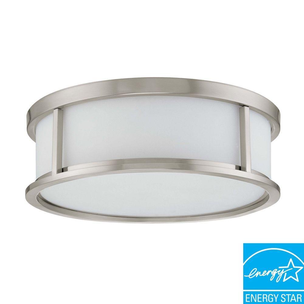3-Light Ceiling Brushed Nickel Fluorescent Flush Mount