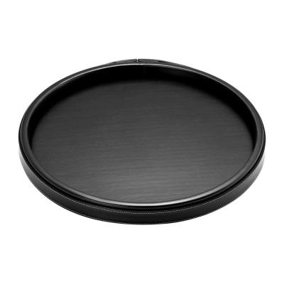 14 in. Stitched Black Round Serving Tray