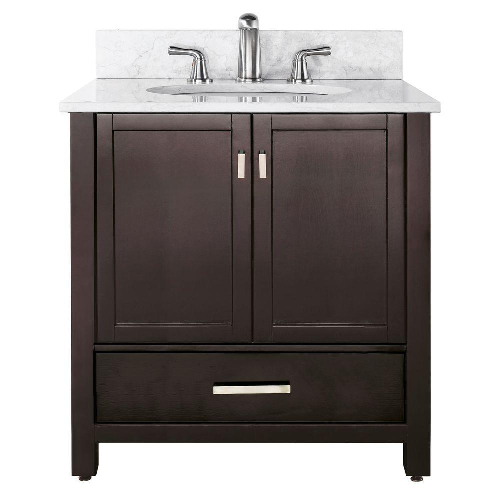 Avanity Modero 37 in. W x 22 in. D x 35 in. H Vanity in Espresso with Marble Vanity Top in Cararra White and White Basin