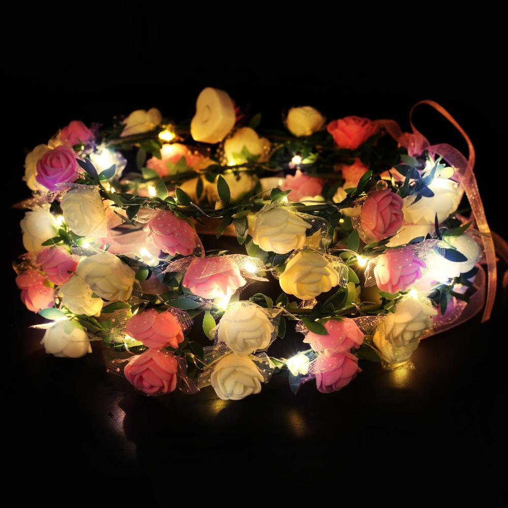 4-Light LED Up Flower Headband Floral Head Crown in Pink (Set of 4)