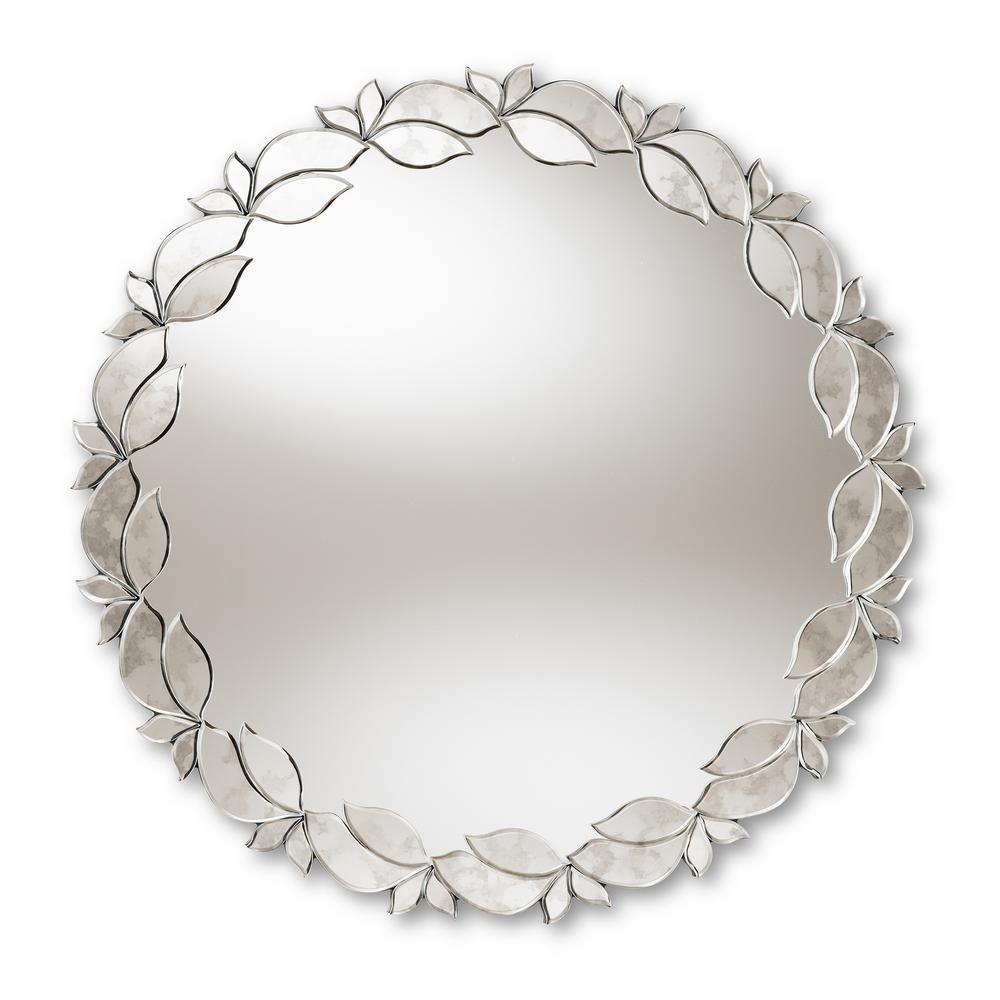 Baxton Studio Luiza Antique Silver Wall Mirror