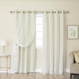 108 inch L Marry Me Lace Overlay Blackout Curtain Panel in Biscuit (2-Pack) by