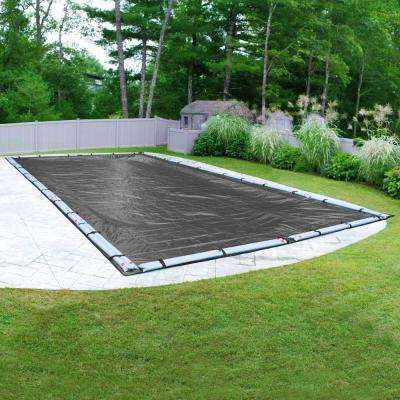 Dura-Guard Mesh 16 ft. x 32 ft. Pool Size Rectangular Gray and Black Mesh In Ground Winter Pool Cover