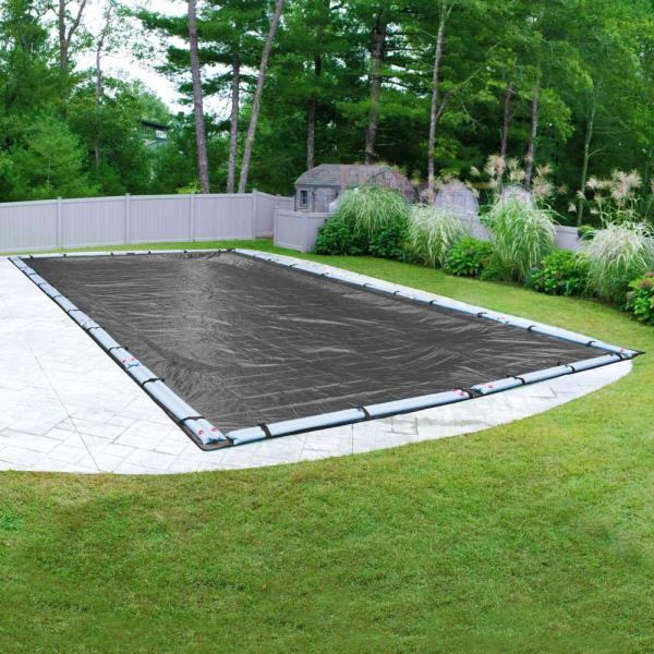 Dura-Guard Mesh 16 ft. x 36 ft. Rectangular Gray and Black Mesh In Ground Winter Pool Cover