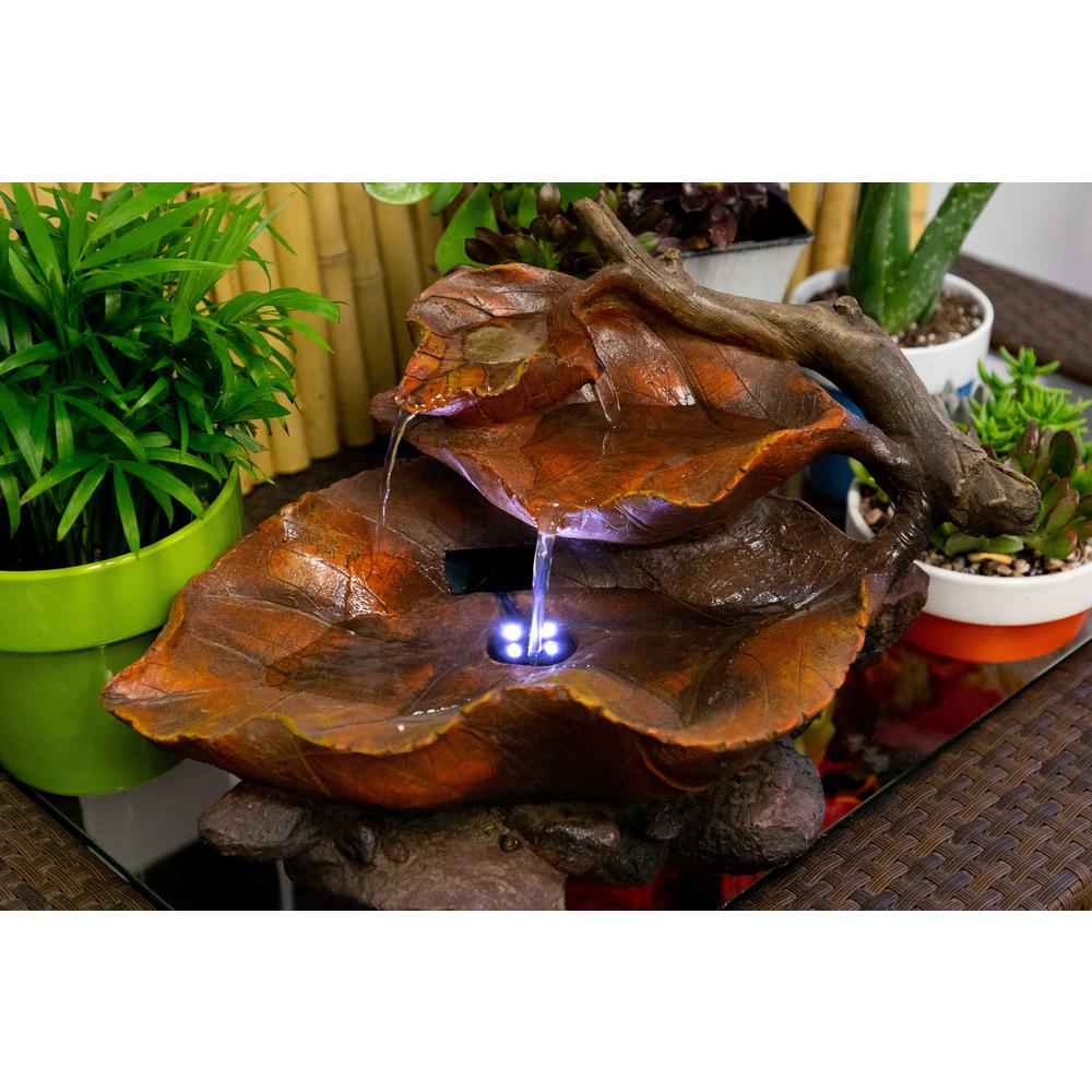 Indoor//Outdoor Water Fountain D/écor Alpine Corporation Tabletop Leaf Fountain with LED Lights