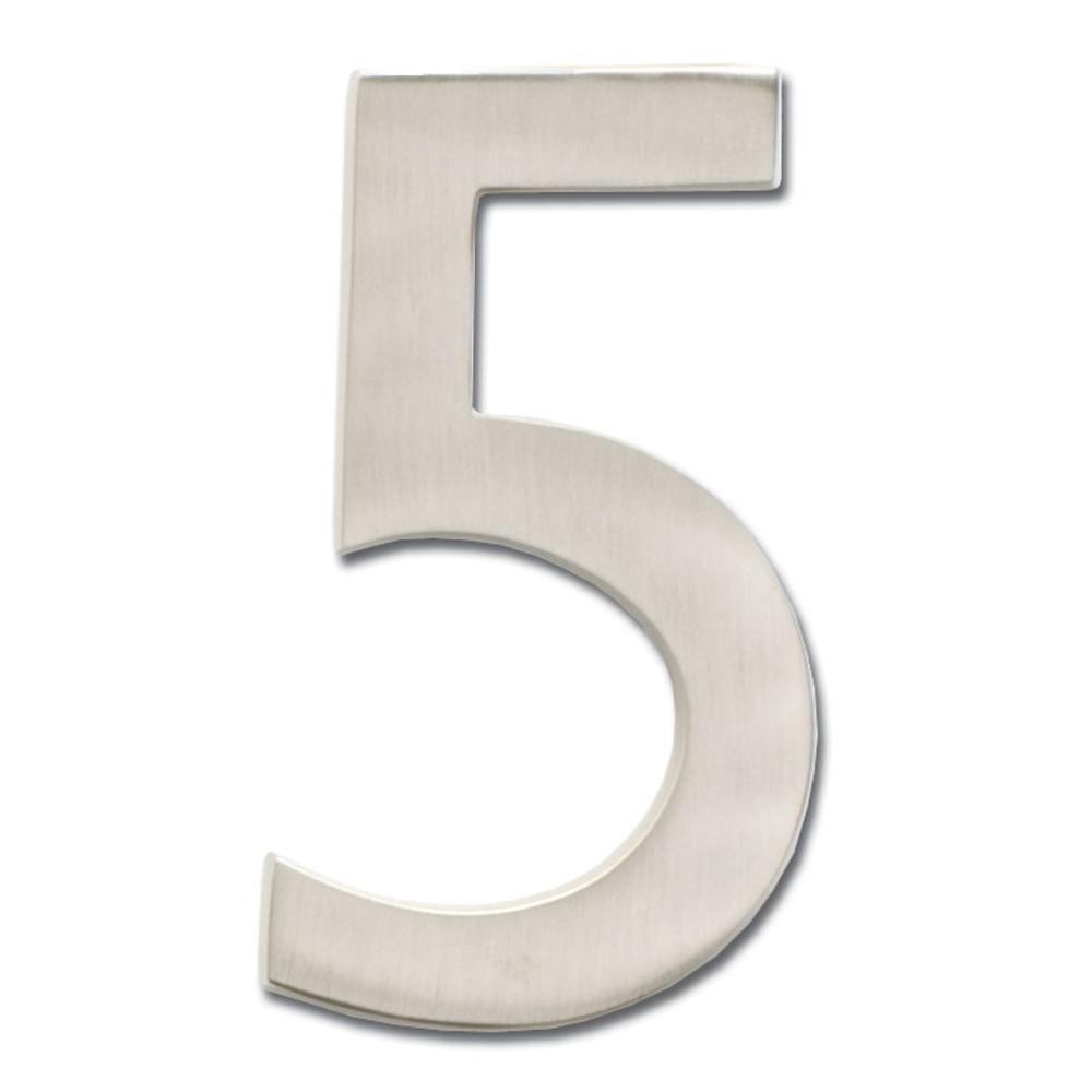 5 in. Floating House Number Satin Nickel 5