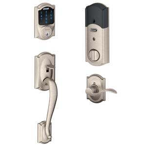 Schlage Camelot Satin Nickel Connect Smart Lock with Alarm and Left Handed Accent Lever Handleset by Schlage