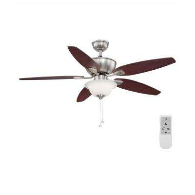 Carrolton II 52 in. LED Brushed Nickel Ceiling Fan with Light Kit and WiFi remote control Works with Google and Alexa
