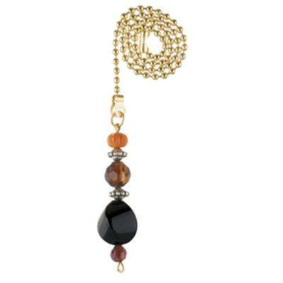 Burgundy and Orange Beads Pull Chain