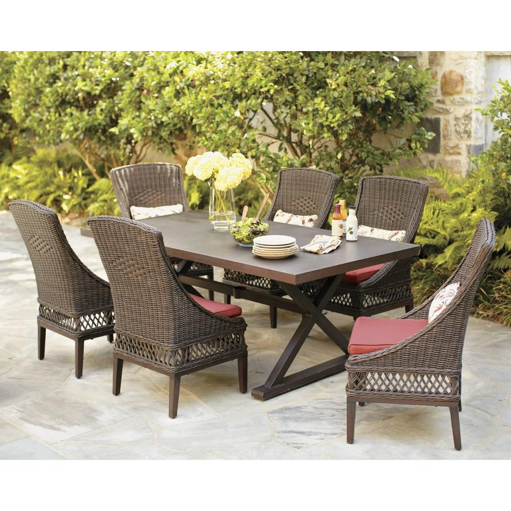 Hampton bay woodbury 7 piece wicker outdoor patio dining for Outdoor furniture 7 piece