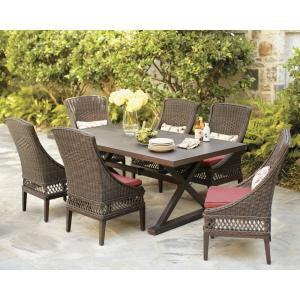 Woodbury 7 Piece Wicker Outdoor Patio Dining Set With Chili Cushion