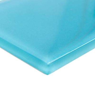 Contempo Turquoise Polished Glass Mosaic Floor and Wall Tile - 6 in. x 3 in. x 8 mm Tile Sample