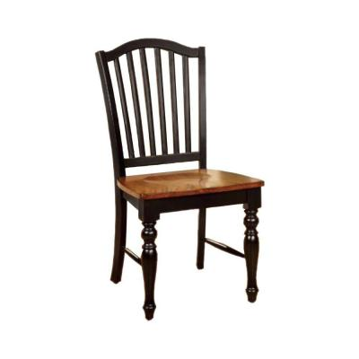 Black and Antique Oak Side Chair with Wooden Seat (Set of 2)