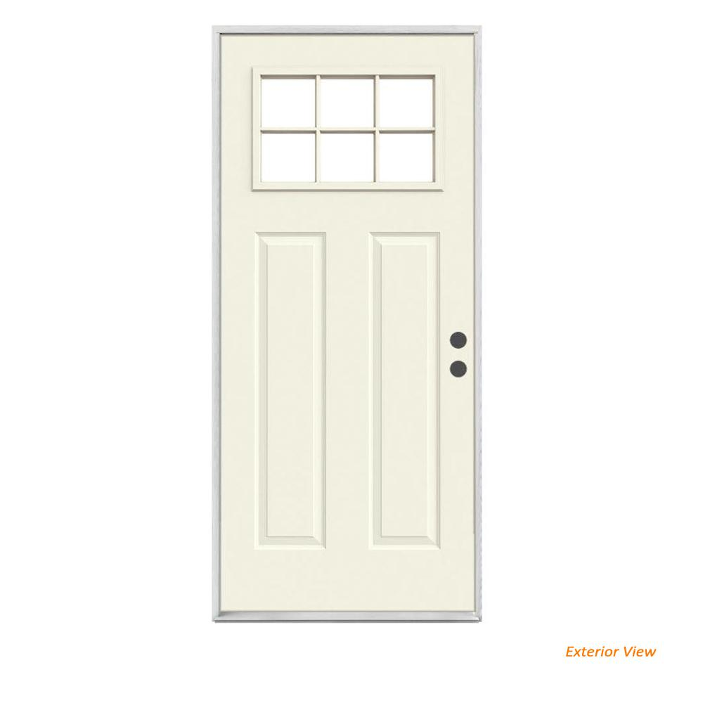 JELD-WEN 30 in. x 80 in. 6 Lite Craftsman Primed Steel Prehung Left-Hand Inswing Front Door
