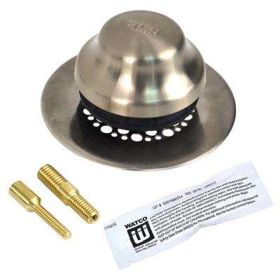 Universal NuFit Foot Actuated Bathtub Stopper with Grid Strainer and 2-Pin Adapters - Silicone, Brushed Nickel