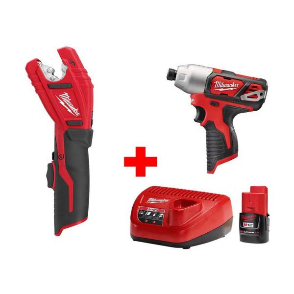 M12 12-Volt Lithium-Ion Cordless 1/4 in. Hex Impact and Copper Tubing Cutter Combo Kit W/ (1) 2.0Ah Battery and Charger
