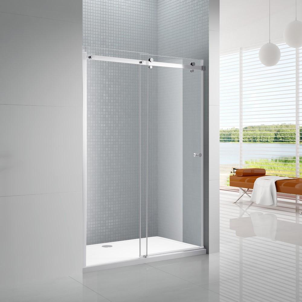 Primo 48 in. x 72 in. Frameless Sliding Shower Door in Chrome with 48 in. x 36 in. Acrylic Shower Base in White