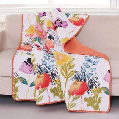 Watercolor Dream Multi Quilted Cotton Throw