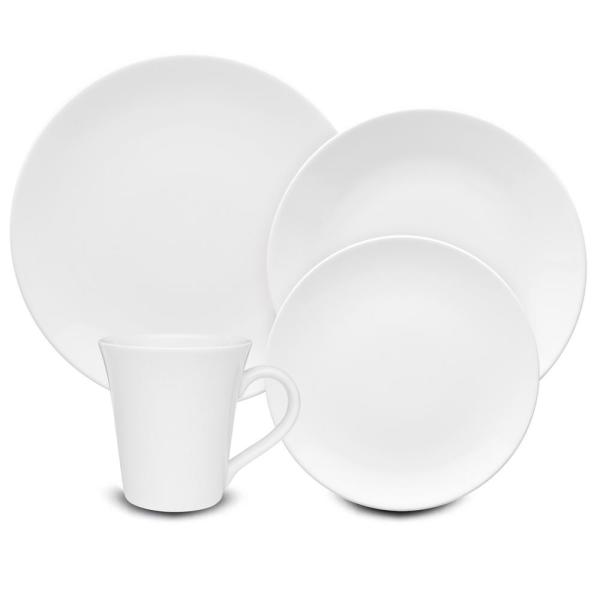 Coup White 24-Piece Casual White Porcelain Dinnerware Set (Service for 6)