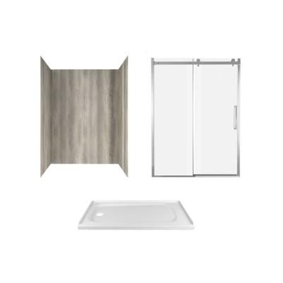 Passage 60 in. x 72 in. 3-Piece Glue-Up Alcove Shower Wall, Door and Base Kit with Left Drain in Gray Timber