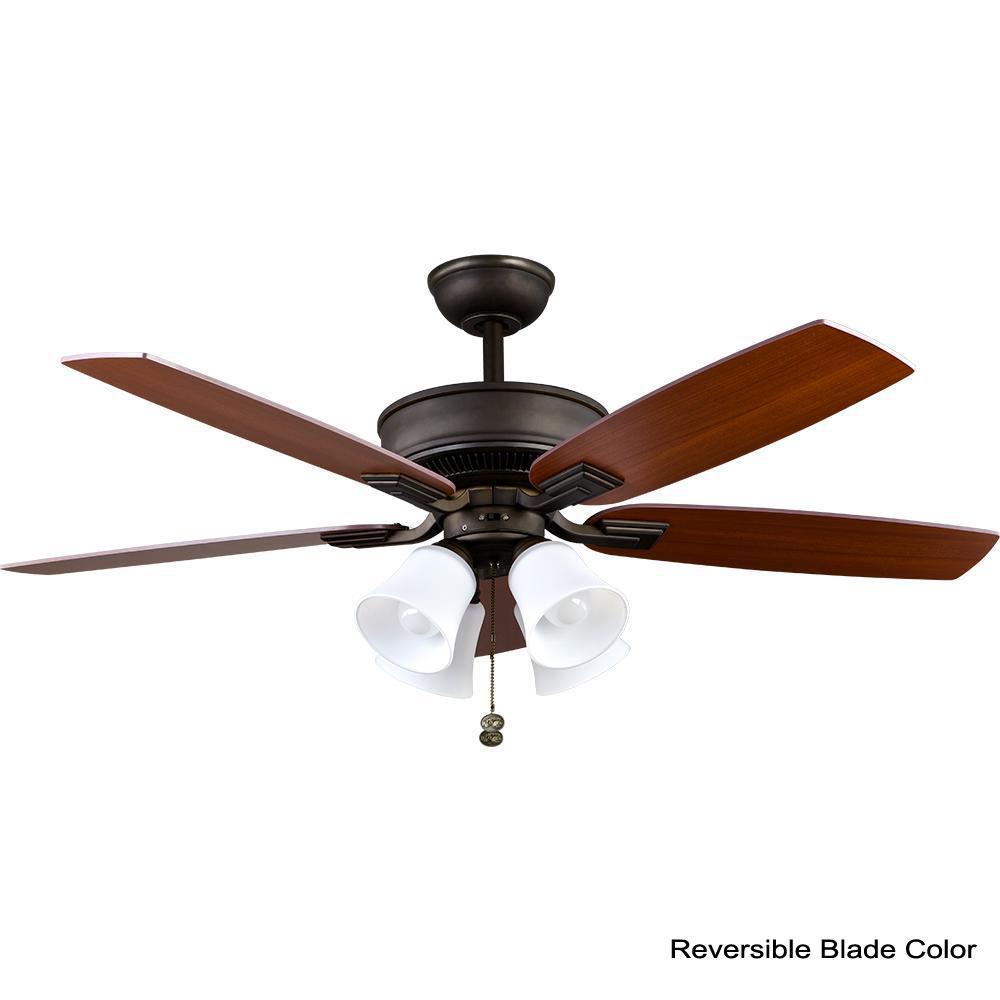 Hampton Bay Ceiling Fan Light Kit Indoor 5 Blades 3 Speed Remote Control Bronze Home Garden Ceiling Fans
