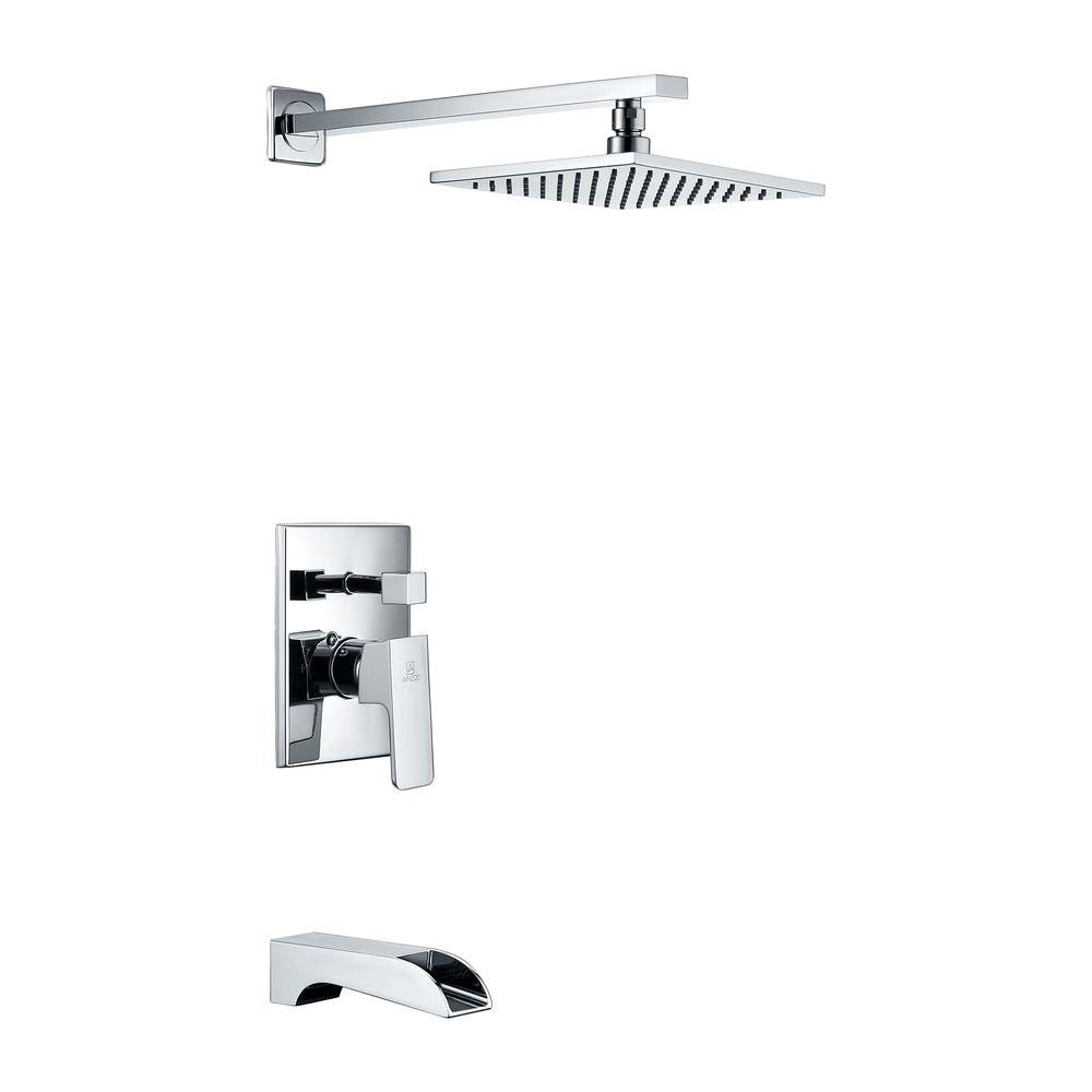 Mezzo Series 1-Handle 1-Spray Tub and Shower Faucet in Polished Chrome