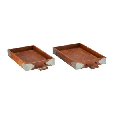 Home Decorators Collection Wood with Galvanized Metal Trim Decorative Rectangle Tray (Set of 2)