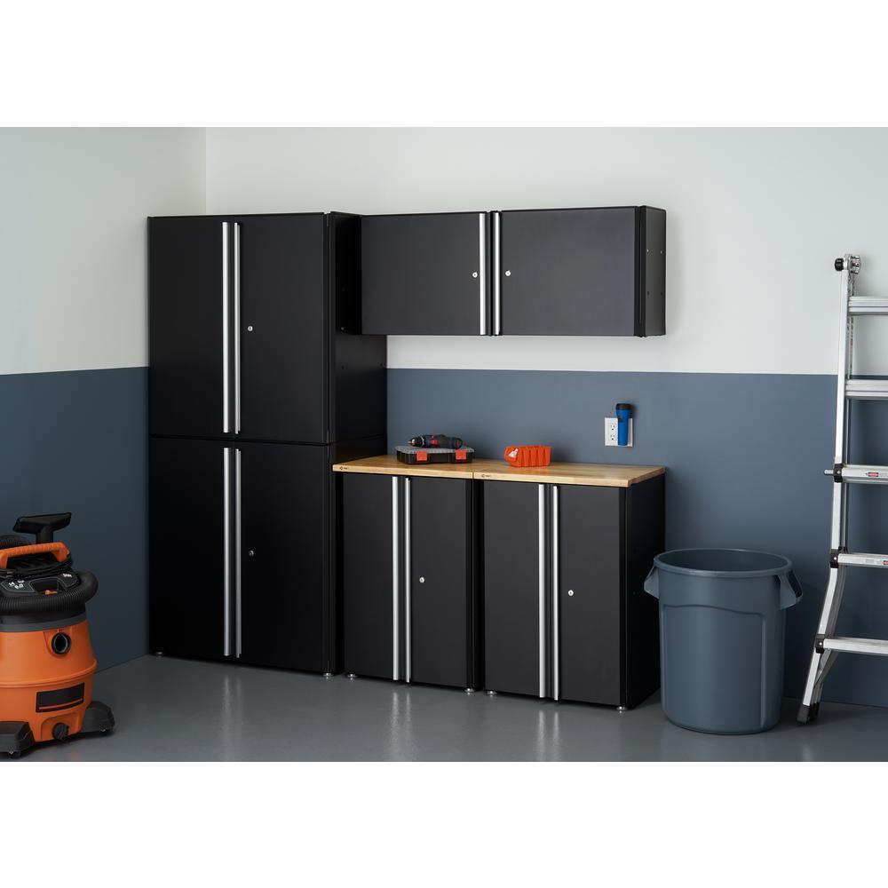 TRINITY 75 in. x 84 in. x 19 in. Steel Garage Cabinet Set in Black (6-Piece)