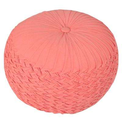Smoking Coral Round 20 in. x 16 in. Indoor Velvet Pouf