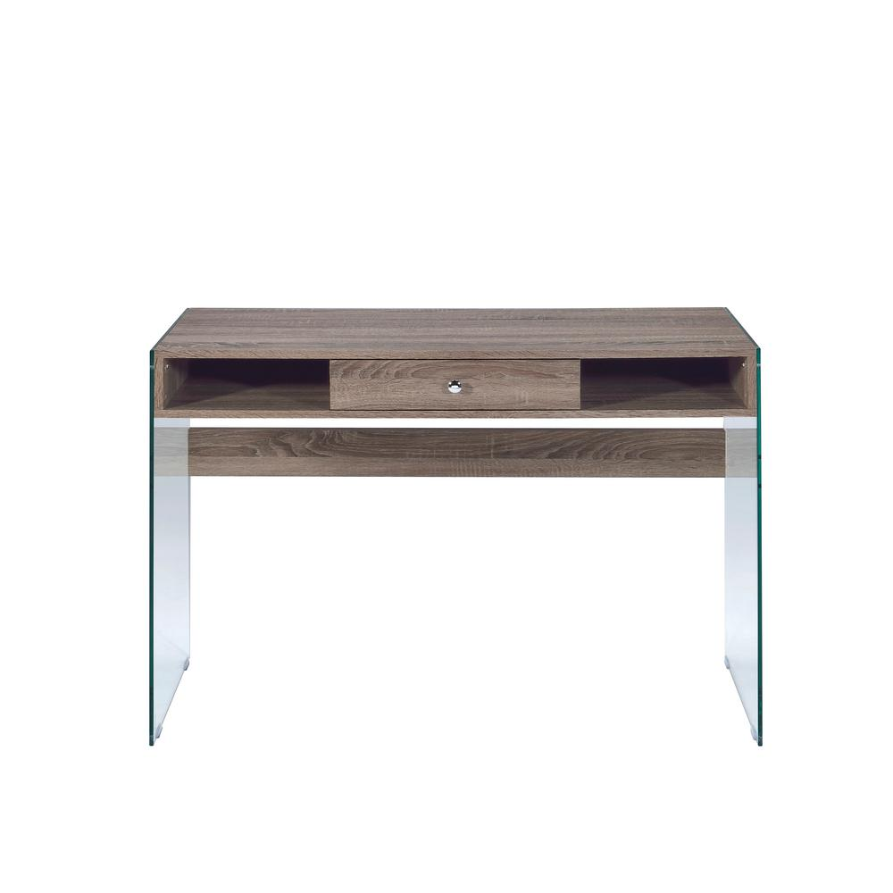 Clear Glass And Gray Oak Armon Writing Desk