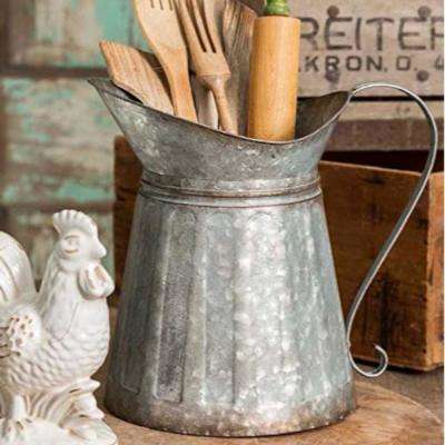 Vintage Style Gray Galvanized Metal Milk Pitcher