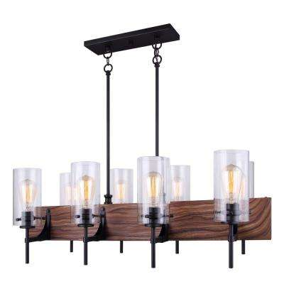 Arlie 8-Light Matte Black and Faux Wood Chandelier with Clear Glass Shades