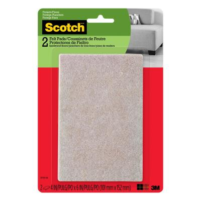 Scotch 4 in. x 6 in. Beige Rectangle Surface Protection Felt Floor Pads ((2-Pack)(Case of 24))