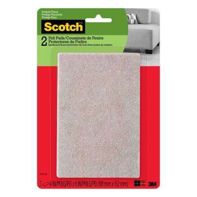 4 in. x 6 in. Beige Rectangle Surface Protection Felt Floor Pads ((2-Pack)(Case of 24))