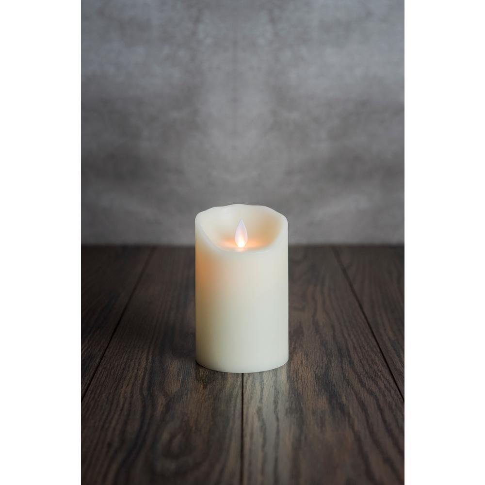 Ivory Moving Pillar Flame Flameless Wax