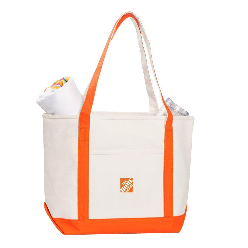 12 in. Premium Cotton Canvas Boat Tote Bag, Women's, Beige/Orange