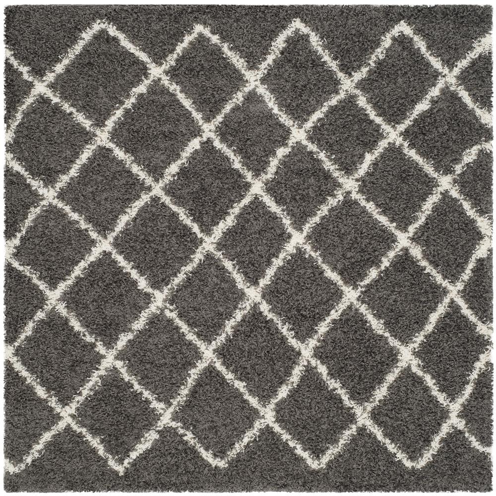 Dallas Shag Dark Gray/Ivory 6 ft. x 6 ft. Square Area