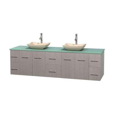 Centra 80 in. Double Vanity in Gray Oak with Glass Vanity Top in Green and Sinks