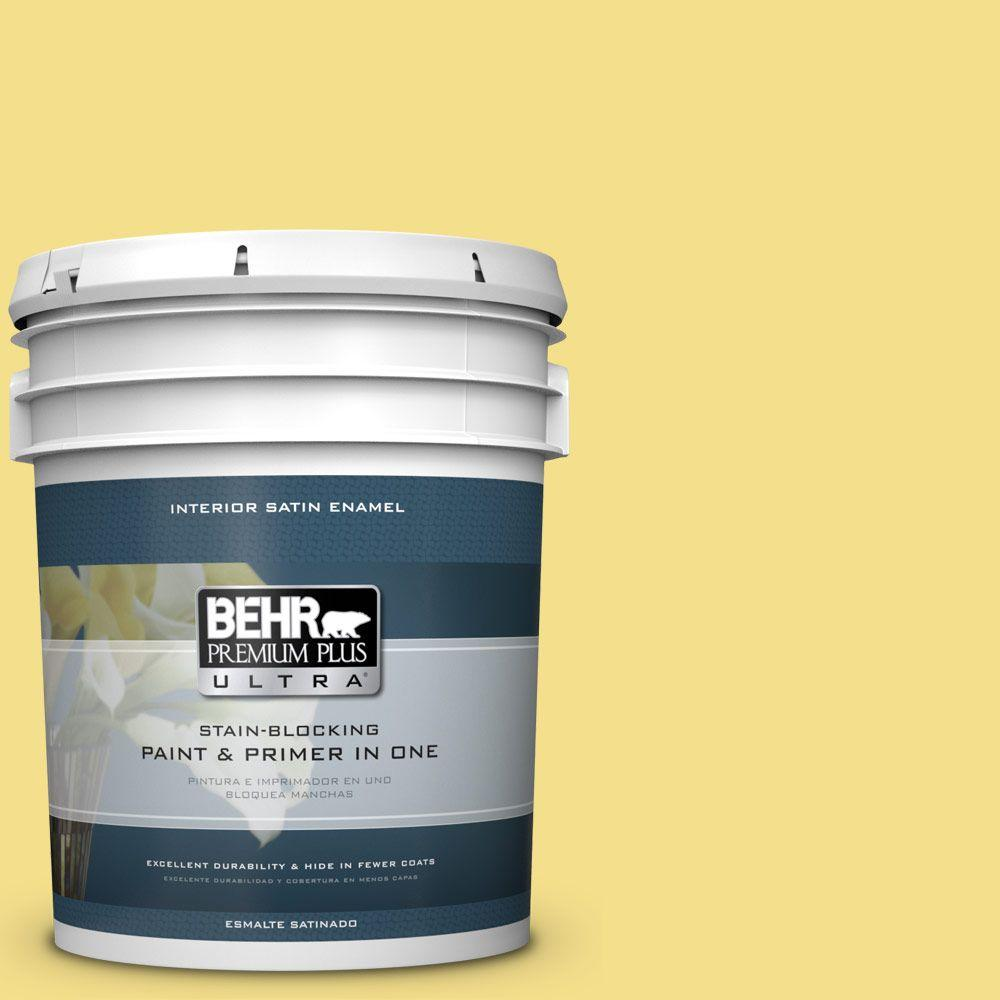 5 gal. #HDC-SP16-03 Lemon Curd Satin Enamel Interior Paint